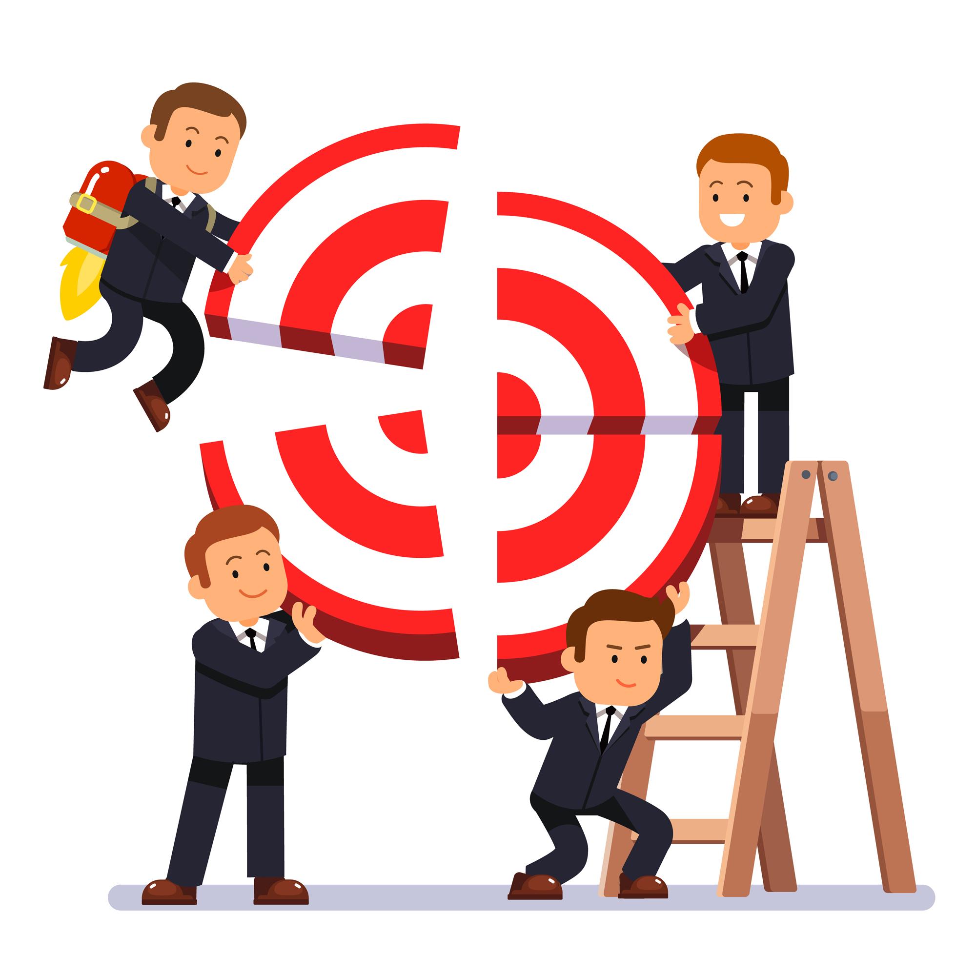 Businessman team building aim